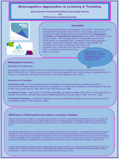 Metacognitive Approaches in Learning and Teaching